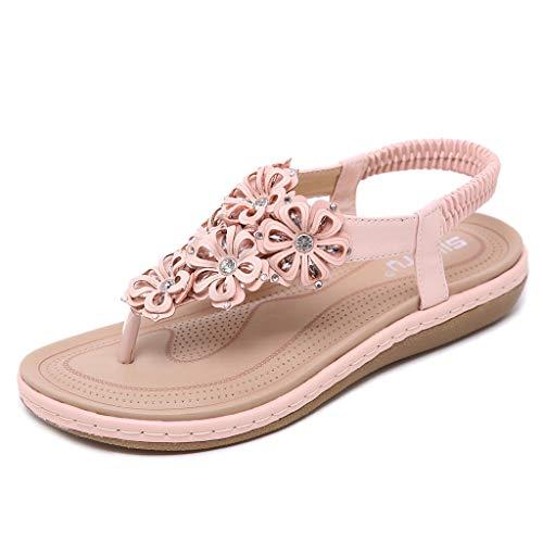 (Kauneus Women's Comfortable Thong Sandals Dressy T-Strap Flip Flop Sandals Rhinestone Flower Slip on Summer Beach Shoes Pink)