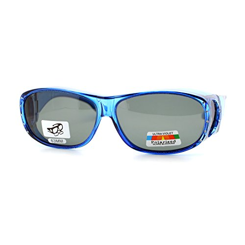 Womens Polarized Fit Over Glasses Rhinestone Sunglasses Oval Rectangular Blue
