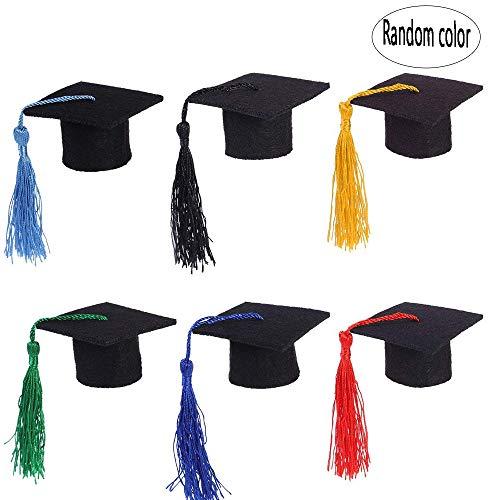 BinaryABC Graduation Cap Bottle Toppers,Mini Graduation Cap Decorations,Graduation Party Decorations,3Pcs(3 Different Colors) ()