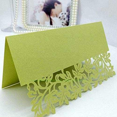 PyLios - 25pcs/Lot Hollow Out Luxury Table Name Place Cards Wedding Christmas Birthday Party Invite Cards Table Decoration Favor [ Light Green ]