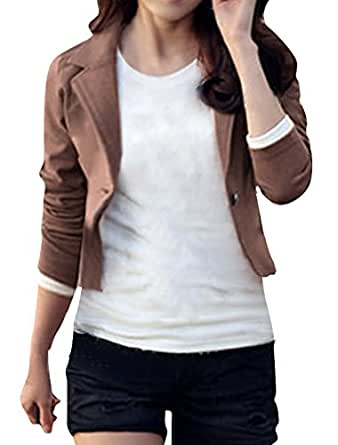 uxcell® Ladies Long Sleeves Notched Lapel Autumn Blazer Coffee XS