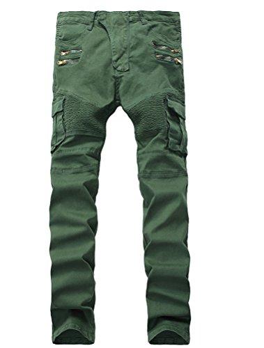 Vogstyle Men's Slim Fit Vintage Distressed Motorcycle Jeans Runway Biker Denim Jeans Style 15-Army Green (Denim Biker Shirt)
