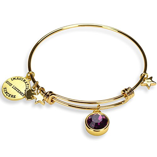 Miraclelove Birthstone Charm Expandable Bangle Bracelets for Women, Mother's Day Jewelry ()