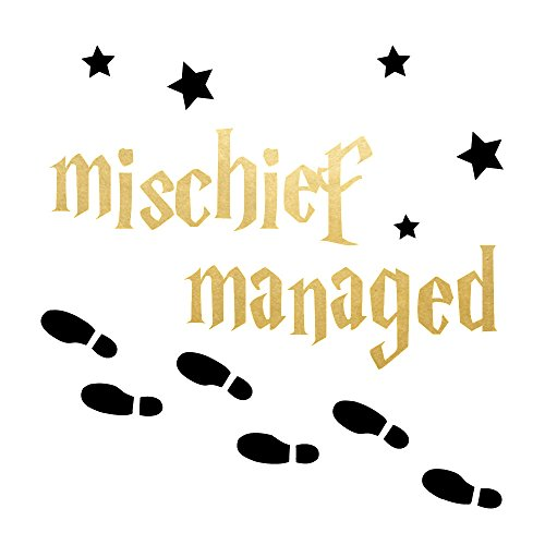 Mischief Managed set of 25 premium wizard inspired waterproof metallic gold and black temporary jewelry foil Flash Tattoos - Party Favors, Party Supplies, Halloween