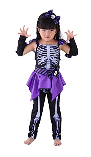 So Sydney Girls Toddler Deluxe Spooky Skeleton Girl Halloween Costume Accessories (M (5/6), Skeleton Girl)