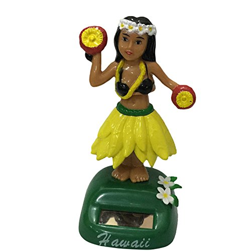 YGMONER Dashboard Fashion Hawaii Girl Car Solar Powered Dancing Animated Bobble Dancer Toy 6 Styles (flower yellow)