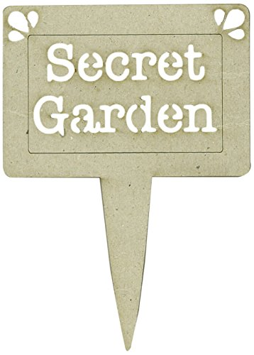 Fabscraps Die-Cut Grey Chipboard Word, Secret Garden Pot Plant Tag, 5 by - Adhesive Tags Chipboard