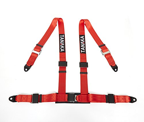 Tanaka 4-point Buckle Sports Harness Seat Belt One Set NEW Type (for one seat) (Red) (Four Point Harness)