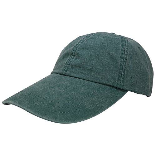 Sunbuster Extra Long Bill 100% Washed Cotton Cap with Leather Adjustable Strap - Forest