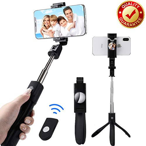 Selfie Stick Tripod Bluetooth Portable Extendable Monopod with Wireless Remote Shutter Stand for iPhone X/8 plus/7/6S/6/XS max/xr Samsung Galaxy Note S6/7/8/9 Plus, Android Phone,Camera,Smartphones