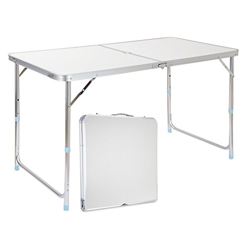 Finether Portable Folding Table Sturdy And Lightweight Steel Frame Legs, 4  Adjustable Heights Feet, For Indoor/Outdoor Use,Camping Picnic, Party  Dining, ...