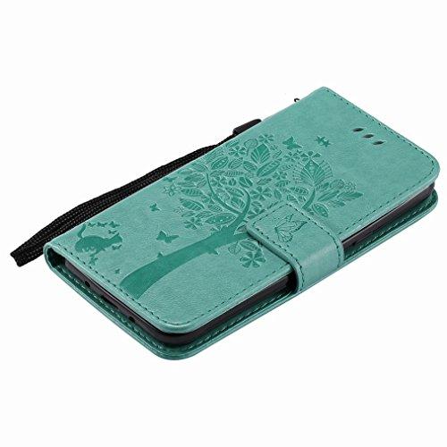 Yiizy Samsung Galaxy J3 (2016) / J320F Custodia Cover, Albero e Gatti Goffratura Design Sottile Flip Portafoglio PU Pelle Cuoio Copertura Shell Case Slot Schede Cavalletto Stile Libro Bumper Protettiv