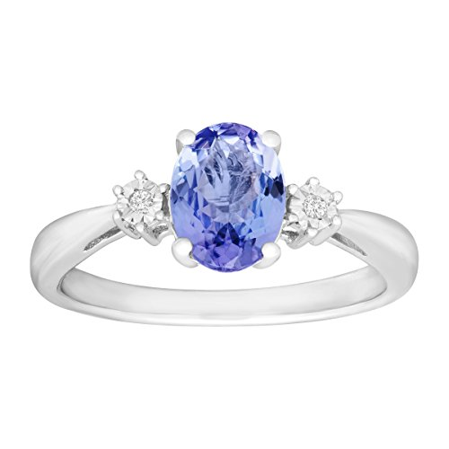 1 1/4 ct Natural Tanzanite Ring with Diamonds in Sterling Silver Size 7 Diamond Tanzanite Ring