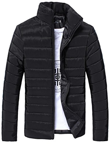 Black Mens Cotton Puffer Parka Packable Winter Fulok Warm Jacket Coat Light Down UnxdUqP