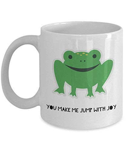 Am joy mug - frog mugs prime - you make me jump with joy - funny coffee cup for women men by Trendy Gifts (white, 11oz)
