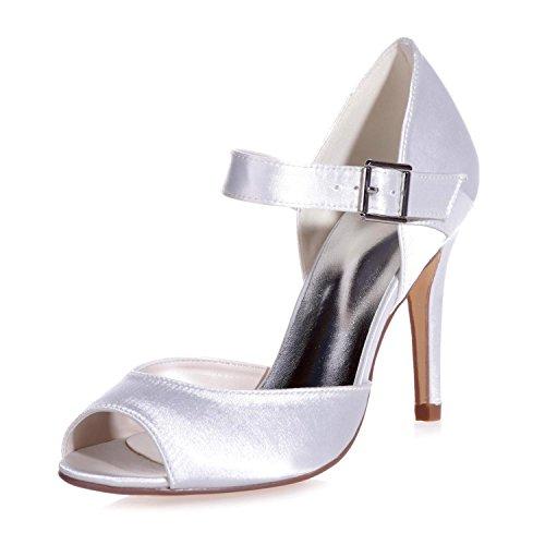 L@YC 5623-13 Zapatos De TacóN alto De Hebilla De Plataforma De TacóN alto Para Mujer Peeking Toe Night Court White