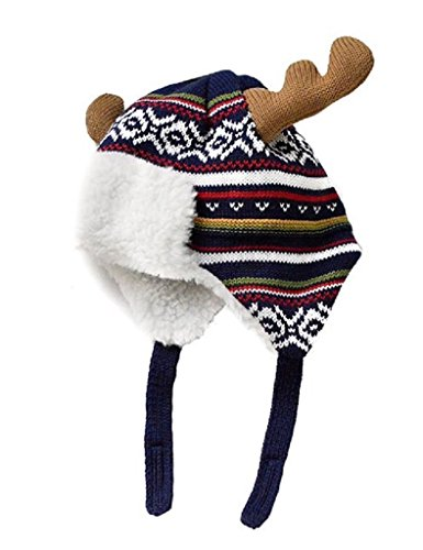 Elk Cap - Home Prefer Baby Toddler Boys Winter Hats Warm Cotton Knitted Skull Caps with Earflaps Elk Horns Hat M 1-2T