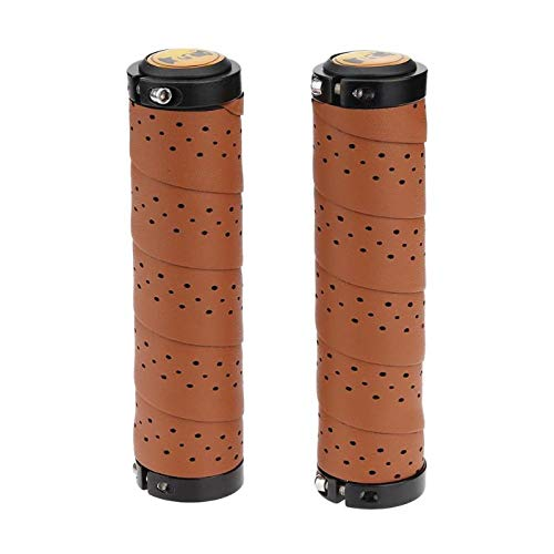 KathShop Vintage Bike Bicycle Leather Anti-s Cycling Handlebar Cover Sleeve Grips with Breathable Hole Bicycle Grips