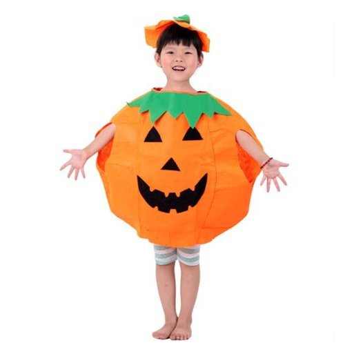 [Dimart Halloween Pumpkin Costume Outfit Party Fancy Dress with Jack-o-Lantern Hat] (Funny Weird Halloween Costumes)
