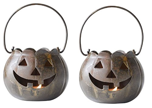 Metal Jack-O-Lantern Decorative Tea Light Holders - Set of 2 ()