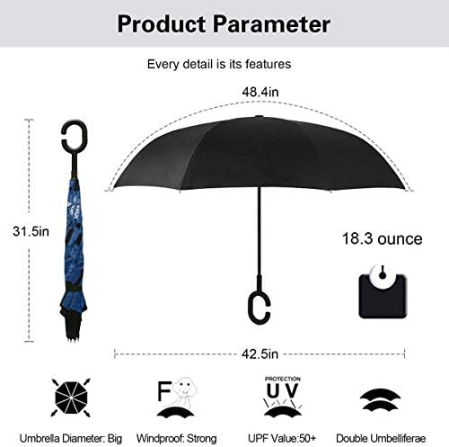 ダイナソーパターンプリント ユニセックス二重層防水ストレート傘車逆折りたたみ傘C形ハンドル付き