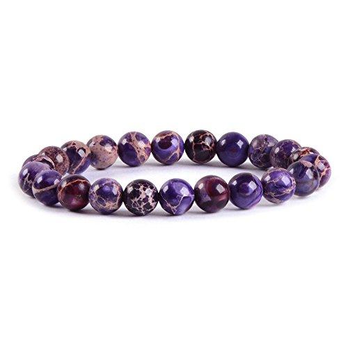 Purple Jasper Rock - Purple Sea Sediment Jasper Gemstone 8mm Round Beads Stretch Bracelet 7