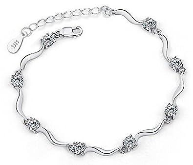6dead4f9492 Shining Diva Fashion Sterling Silver Crystal Chain Bracelet for Women &  Girls: Shining Diva: Amazon.in: Jewellery