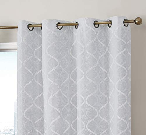 HLC.ME Lattice Flocked 100% Complete Blackout Thermal Insulated Window Curtain Grommet Panels - Energy Savings & Soundproof - Great for Living Room & Bedroom - Set of 2 (50 x 96 inches Long, Ivory) (Energy Sound)