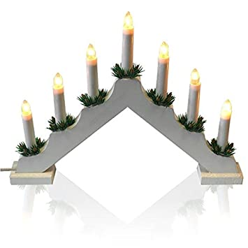 Weihnachtsbeleuchtung Lichterbogen.Holz Lichterbogen Schwibbogen Adventsbogen Mit 7 Lichter Weihnachtsbeleuchtung Weihnachtsdekoration Fensterdekoration