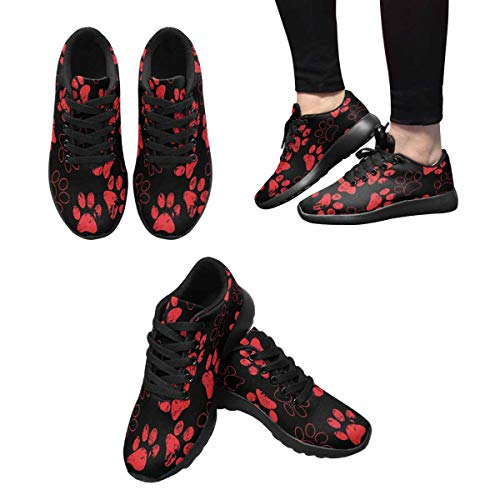 InterestPrint Traces Running Paw Women's of Sports Walking Print 1 Cat Shoes Design 66fwSr