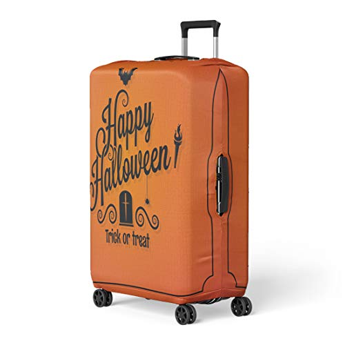 Pinbeam Luggage Cover Orange Day Halloween Ornate Event Happy Retro Autumn Travel Suitcase Cover Protector Baggage Case Fits 18-22 -