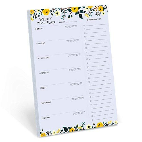 (Minimalmart Weekly Magnetic Meal Planner Notepad - Food Planning Organizer and Grocery List Pad, Premium 52 Pages, with Tear Away Perforated Shopping List)