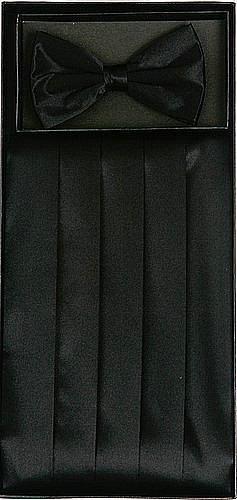 Silk Cumberbund & Bowtie Black Mens Cummerbund & Bow Tie Set (Cummerbund Sets)