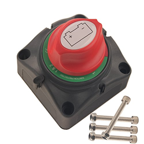 (Dewhel Dual Battery Selector Switch 1-2-Both-Off Selector for Marine Boat Rv Vehicles)