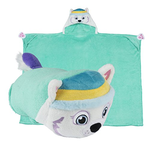 [Comfy Critters Paw Patrol Cartoon Character Hooded Blanket that Folds into a Pillow, Everest] (Disney Group Costumes Ideas)