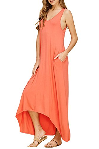 35486a0de25 LANTHE Women s Casual V Neck Sleeveless Beach Loose Plain Maxi Dresses Tank  Top Long Dresses with