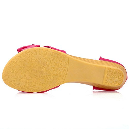 COOLCEPT Mujer Moda Al Tobillo Sandalias Punta Abierta Tacon de Cuna Zapatos With Bowknot Rojo