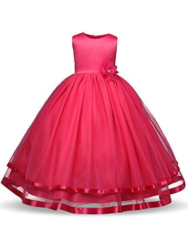 NNJXD Girl Sleeveless Chiffon Long Tail Wedding Tutu Flower Dress Size 5-6 Years Rose