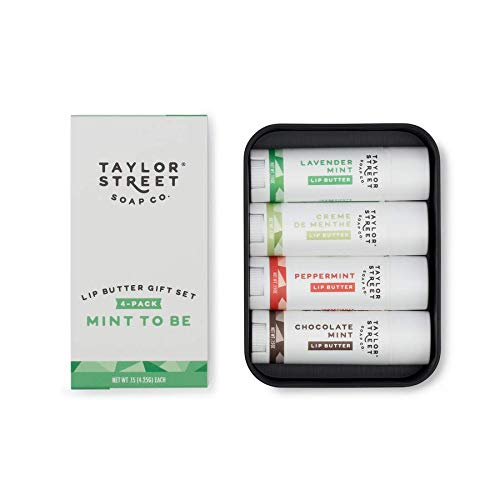 Taylor Soap Co, 4 Pack Lip Butter Tin, Gift Set (Mint to Be)