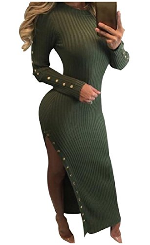 Long Women's Sleeve Side Stylish Maxi Green Army Slit Bodycon Coolred Knit Dress 5AqndxwAE