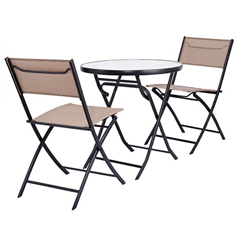 Table Chair Set Metal Tempered Glass Folding Outdoor Patio Garden Pool 3 Piece by billionese