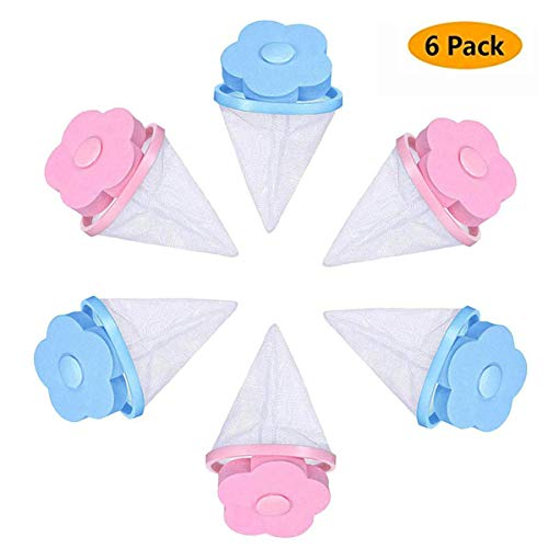 6 Pieces Reusable Household Washing Machine Floating Lint Mesh Bag Hair Filter Net Pouch