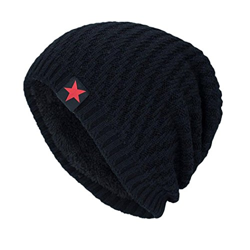 Winter Slouchy Beanie Unisex Knitting Hat Wool Fleece Lined Stretchy Ski Skull Cap (Black (Star Pattern)) (Big Star Visor)