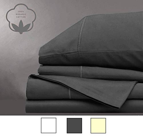 LINENWALAS Todays Deals - Organic Cotton Percale Queen Sheets - Ultra Soft 300 Thread Counts Set of 4 Bed Sheets - Cool & Breathable Solid Sheet Set (Queen, ()