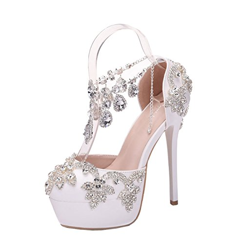 Minitoo ,  Damen Plateau Single Chains/Ivory-14cm Heel