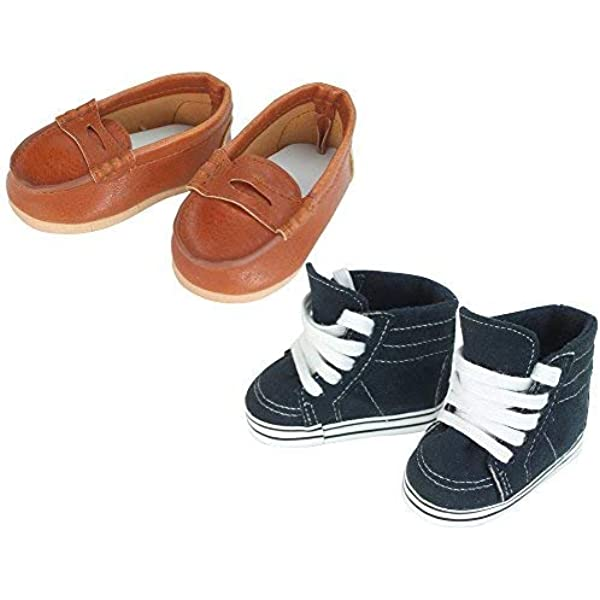 SHOES BLACK FOR 15 18 IN AMERICAN GIRL BOY DOLL CLOTHING