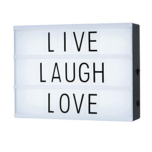 Cinematic Light Box with 85 Letters ,A4 size Free Combination Cinema Light Box DIY LED Letter Lamp for Home Decor, Photoshoots, Birthday Party ,Christmas Gift( Extra 85 Emoji Signs ) -