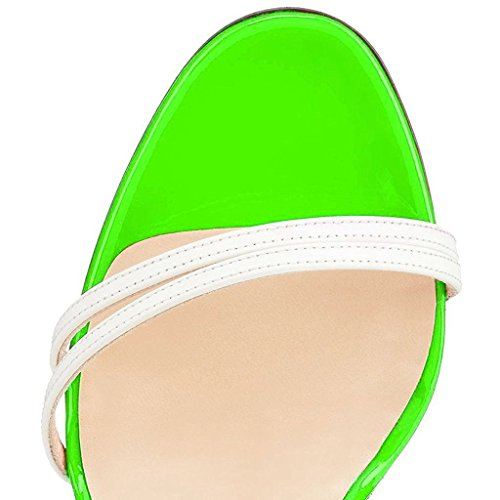 a ELASHE Toe Caviglia Scarpe Verde Donna Open Tacco da Fibbia Cinturino Con Spillo Sandali 1WRAr1n