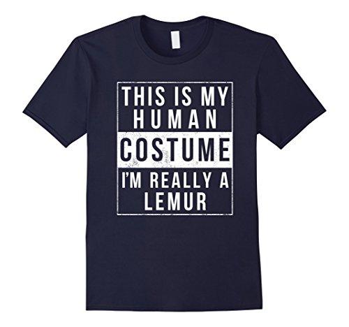 Lemur Costume Toddler (Mens Lemur Halloween Costume TShirt Easy Funny Kids Adult Medium Navy)