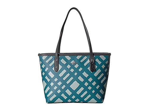 - COACH Women's BF Wild Plaid Mini City Zip Tote Sv/Blue Multi One Size